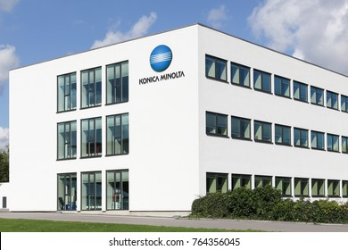 Ballerup, Denmark - September 10, 2017: Konica Minolta office building. Konica Minolta is a Japanese technology company. The company manufactures business and industrial imaging products