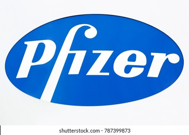 Ballerup, Denmark - September 10, 2017: Pfizer logo on a wall. Pfizer is an American pharmaceutical corporation headquartered in New York City with its research headquarters in Groton, Connecticut