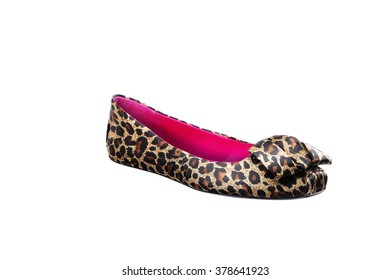 Ballet Bump Flat Shoe with Animal printed, isolated on white