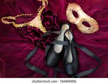 Ballet costume, shoes and masquerade mask