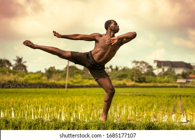 ballet dancer and choreographer workout - young athletic and fit black African American man dancing free outdoors on tropical rice field background in fitness  and body expression concept