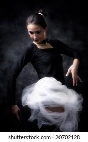 ballet dancer practicing, studio shot