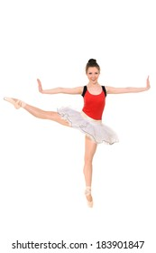 Ballet dancer in red leotard and white tutu