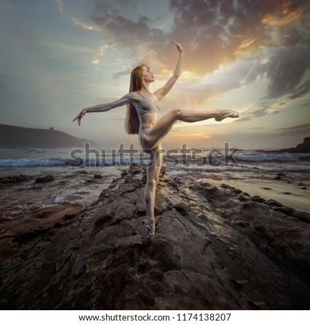 14872a6f9 ... Stock Photo (Edit Now) 1174138207 - Shutterstock. Ballet dancer in a  sunset on the beach. concept freedom and nature in its purest