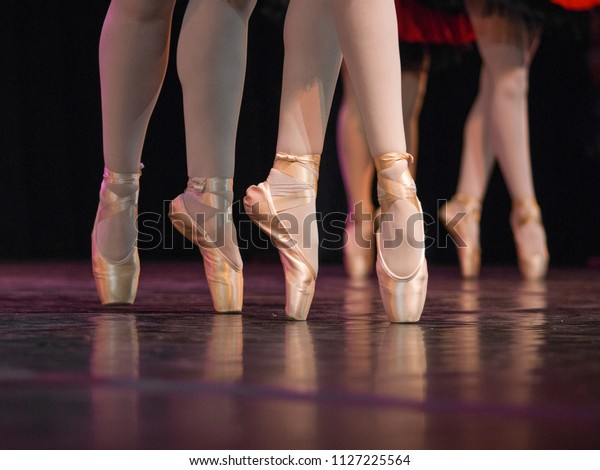 Ballet Dancers Feet Pointe Shoes Sports Recreation Stock Image 1127225564