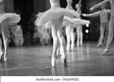 Ballet dancers on stage during a performance in the theater