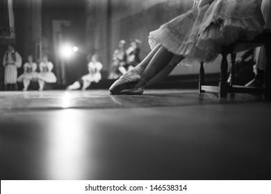 Ballet rehearsal, ballerinas on the stage