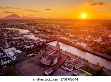 Ballina town Co.Mayo and Cathedral during sunset Ireland