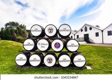 BALLINDALLOCH, MORAY / SCOTLAND - AUGUST 24, 2016: Whisky barrels at the entrance of Glenlivet Distillery