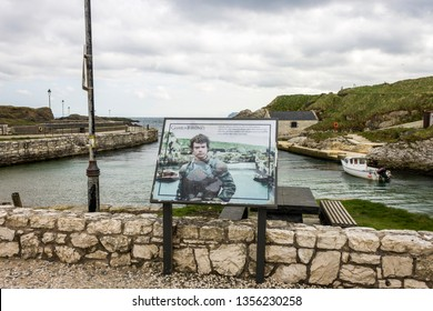 BALLINTOY, NORTHERN IRELAND - May 2, 2015: The Ballintoy Harbour, a famous filming location for fantasy TV show Game of Thrones