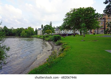 BALLOCH, SCOTLAND -18 JUL 2017- View of the Cameron House, a landmark luxury hotel in Balloch on the bank of Loch Lomond in Argyll and Bute, Scotland.