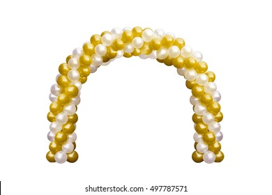 Balloon Archway door Gold Yellow and white, Arches wedding, Balloon Festival design decoration elements with arch floral design isolated on white Background