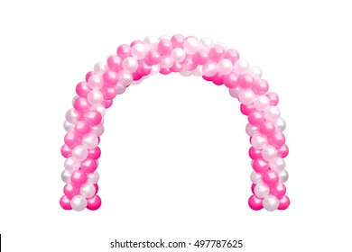 Balloon Archway door Pink and white, Arches wedding, Balloon Festival design decoration elements with arch floral design isolated on white Background