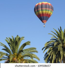 Balloon ascending over palm trees