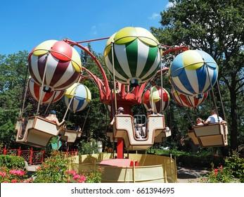 Balloon carousel. Attraction in Familypark. St. Margarethen, Burgenland, Austria, June 2017.