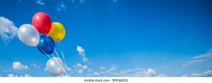 balloon with colorful on blue sky