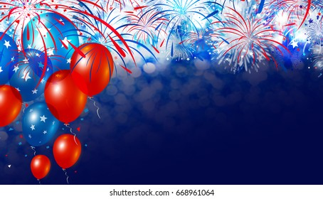 Balloon and fireworks with bokeh background