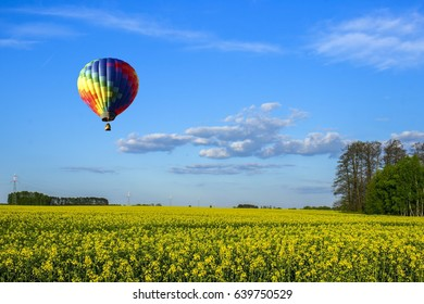 The balloon flew over the field of rapeseed.