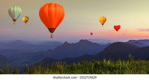 Balloon on twilight sky over high mountains viewpoint at sunset