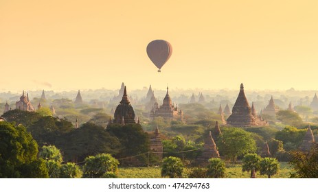 Balloon over Chedi field in Bagan, Myanmar