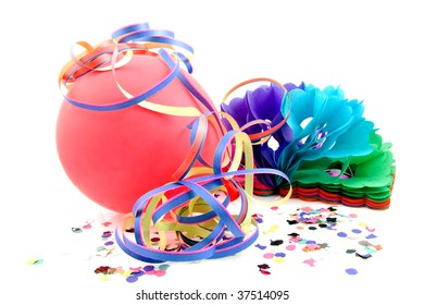 Balloon and party streamers for birthday isolated on white background