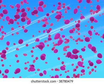 Balloon release: Pink helium balloons against sky of jet contrails