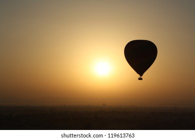 Balloon Silhouette over Valley of the Kings, Luxor, Egypt
