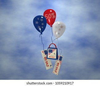 Balloon with stars, Sale 50%, paper bag and banner with cloudy sky for the 4th of July. 3d rendering