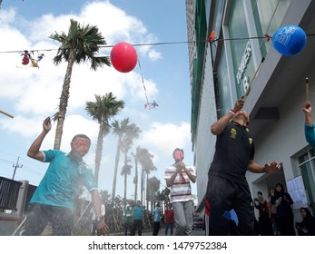 balloon stitch competition (lomba tusuk balon) in the framework of Indonesia's 74th independence day (surabaya, august 14th 2019)