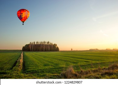 A balloon trip on the eve of the day at sunset