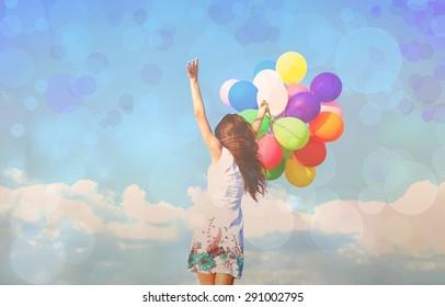 Balloon, woman, smile.
