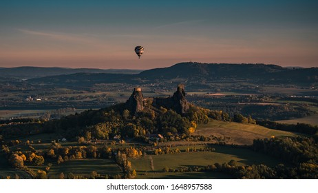 Ballooning around the ruins of Trosky Castle - Shutterstock ID 1648957588
