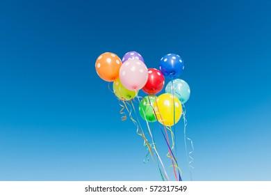 Balloons against the blue sky