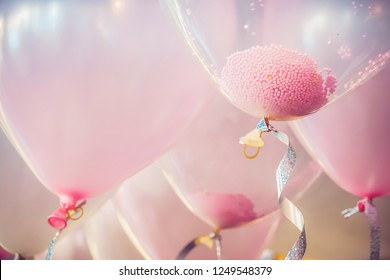 Balloons in birthday party room background. with string and ribbon helium Ballon floating in happy celebrate wedding day.Concept of balloon in wedding and birthday party.