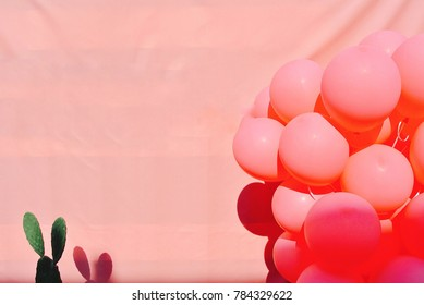 Balloons and Cactus with Pink Canvas