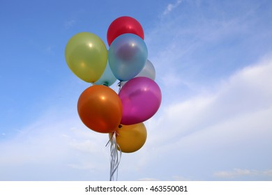 Balloons colorful on sky background