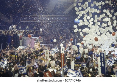 Balloons and confetti dropping as Dole is nominated at the Republican National Convention in 1996, San Diego, CA