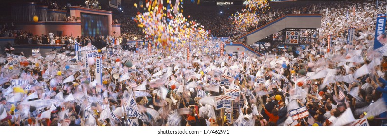Balloons dropping at Democratic National Convention, Madison Square Garden, New York