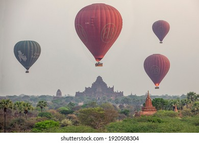 Balloons floating over the pagoda in Bagan,Myanmar 6 January 2018