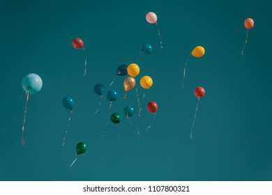 Balloons Flying Away. Movie Shot Style With Copyspace