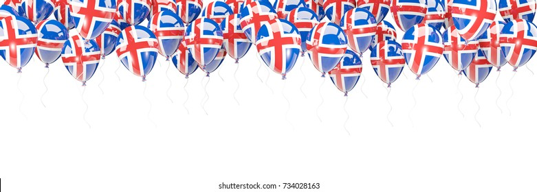 Balloons frame with flag of iceland isolated on white. 3D illustration