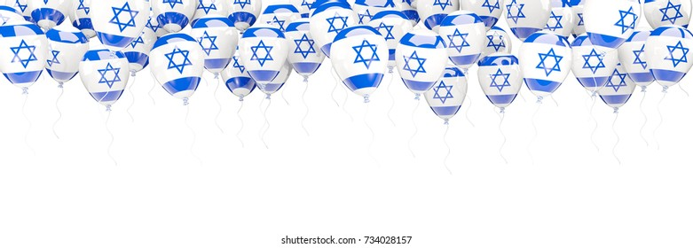 Balloons frame with flag of israel isolated on white. 3D illustration