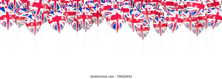 Balloons frame with flag of united kingdom isolated on white. 3D illustration