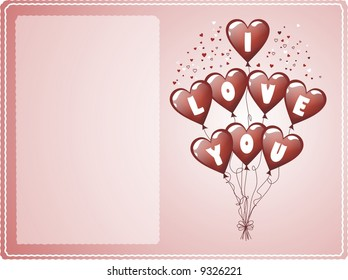 """Balloons with """"I LOVE YOU"""" text for a Valentine's day card"""