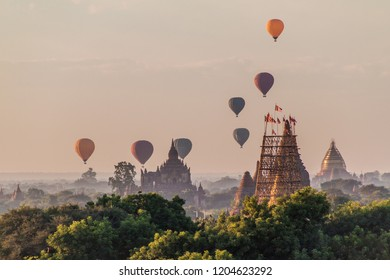 Balloons over Bagan and the skyline of its temples, Myanmar