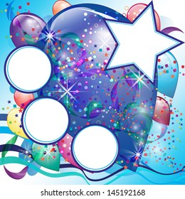 Balloons party card for Boy with White space and decorations