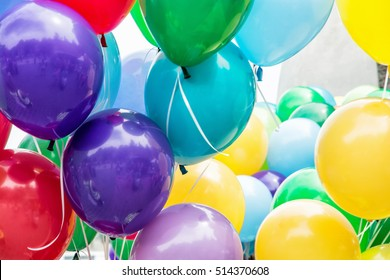 Balloons party. Funny symbolic objects. Colorful balloons background. Leisure activity. Vibrant colors.
