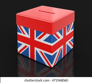 Ballot Box with British flag. Image with clipping path