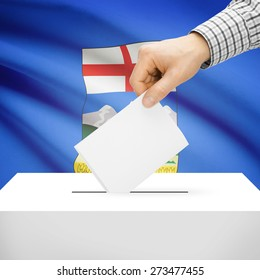 Ballot box with Canadian province flag on background series - Alberta