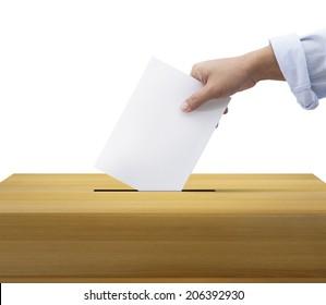 Ballot box and casting vote on white background